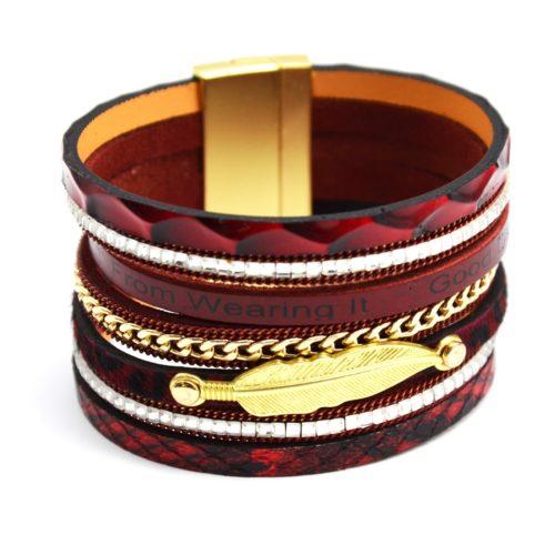 Bracelet-Manchette-Aimante-Multi-Rangs-Ecailles-Bordeaux-Pierres-Chaine-et-Plume-Metal-Dore