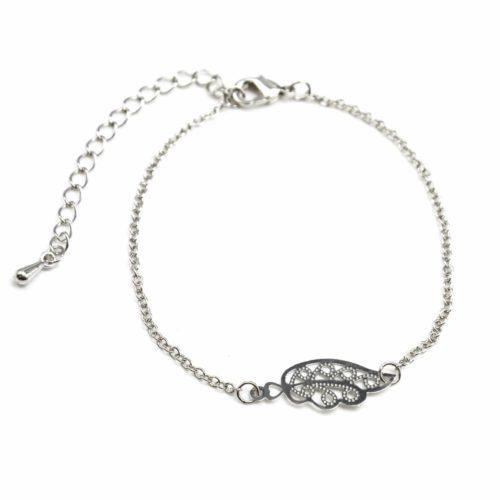 Bracelet-Fine-Chaine-avec-Charm-Aile-Ciselee-Metal-Argente