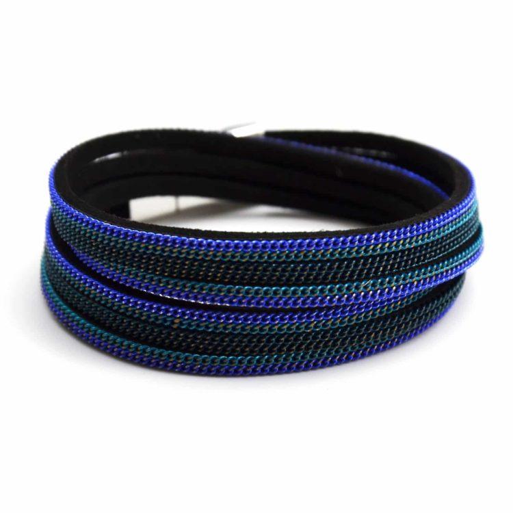 Bracelet-Double-Tour-Multi-Rangs-Feutrine-et-Chaines-Metal-Bleu