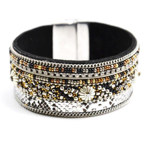 Bracelet-Manchette-Aimante-Cuir-Python-Satine-Argente-avec-Perles-de-Rocaille-et-Fleurs