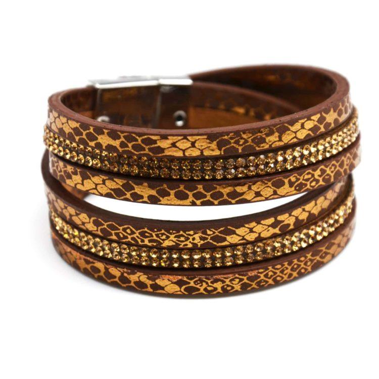Bracelet-Double-Tour-Imprime-Python-Brillant-et-Rangees-de-Strass-Marron