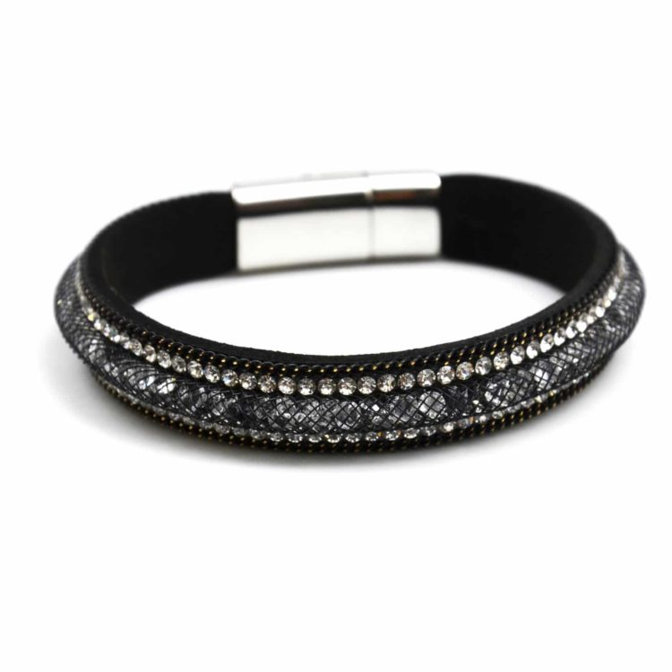 Bracelet-Tube-Resille-Cristaux-Stardust-Contour-Strass-et-Chaine-Noir