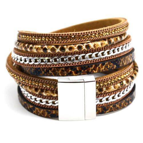 Bracelet-Double-Tour-Cuir-Python-Beige-Chaine-Strass-et-Plume-Metal-Argente
