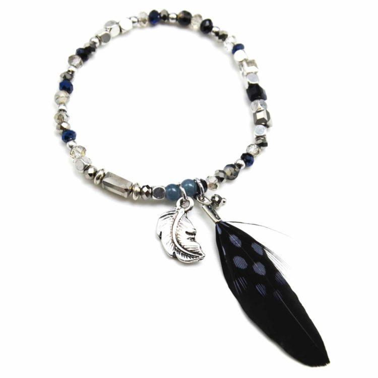 Bracelet-Elastique-Pierres-Brillantes-et-Perles-avec-Charm-Plume-Ethnique-Noir