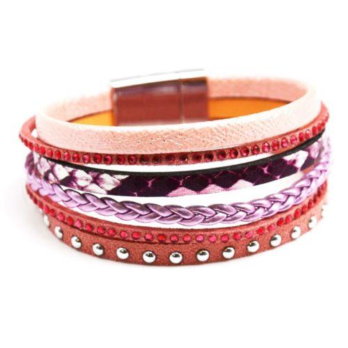 Bracelet-Multi-Rangs-Ethnique-Python-Tresse-Clous-Strass-Rose