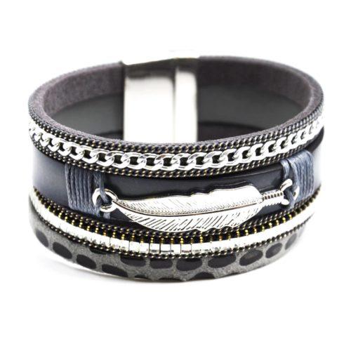 Bracelet-Manchette-Multi-Rangs-Ethnique-Ecailles-Chaine-Pierres-et-Plume-Metal-Gris