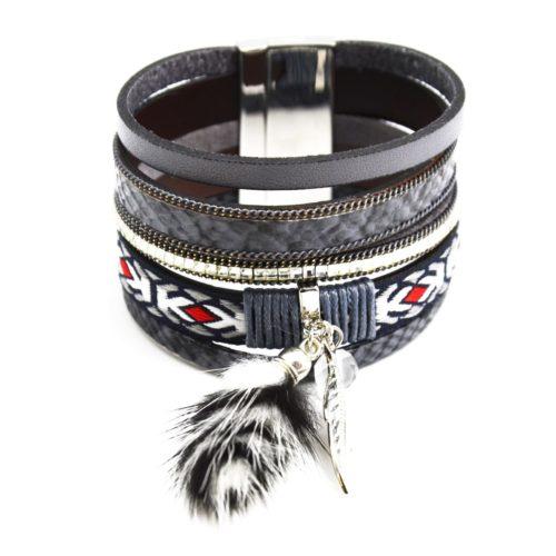 Bracelet-Manchette-Multi-Rangs-Ecailles-Pierres-Ruban-Ethnique-et-Pompon-Fourrure-Gris