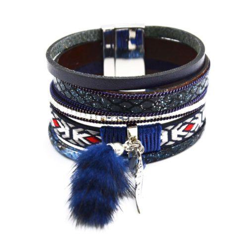 Bracelet-Manchette-Multi-Rangs-Ecailles-Pierres-Ruban-Ethnique-et-Pompon-Fourrure-Bleu-Marine