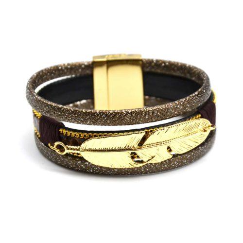 Bracelet-Manchette-Multi-Rangs-Simili-Cuir-Brillant-Marron-Ecailles-et-Plume-Metal