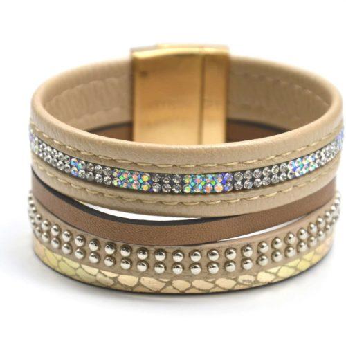 Bracelet-Manchette-Multi-Rangs-Simili-Cuir-Ecailles-Clous-et-Strass-Beige