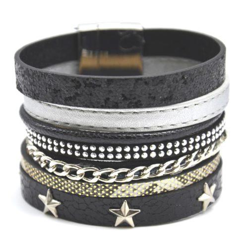 Bracelet-Manchette-Multi-Rangs-Simili-Cuir-Chaine-Clous-et-Etoiles-Noir