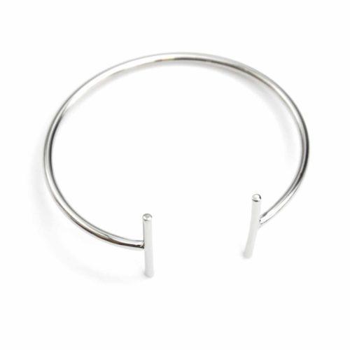 Bracelet-Jonc-Ouvert-Forme-T-avec-Barres-Metal-Argente