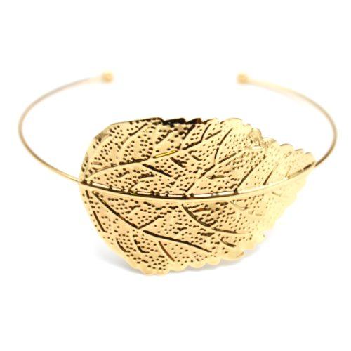 BC1715D Bracelet Jonc avec Plume Ethnique Relief Métal et Chaîne Argenté