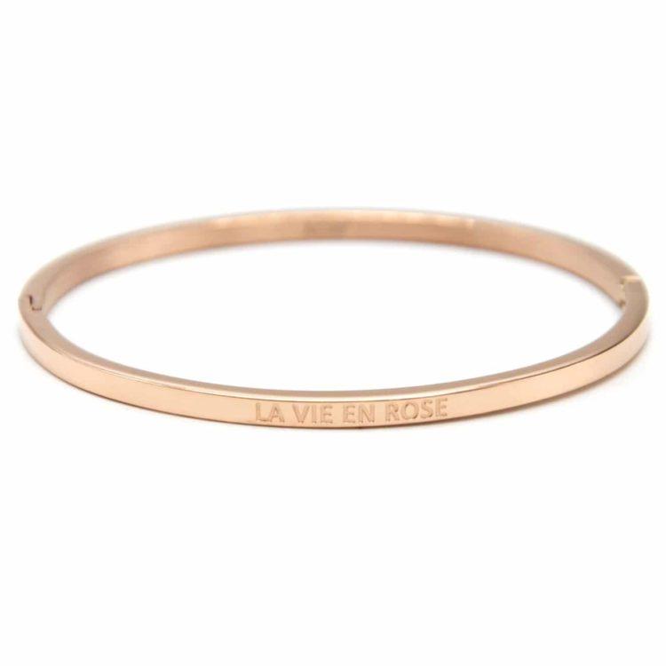 Bracelet-Jonc-Fin-Acier-Or-Rose-avec-Message-La-Vie-En-Rose