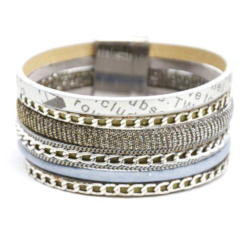 Bracelet-Manchette-Multi-Rangs-Simili-Cuir-Message-Fils-Brillants-Gris-et-Chaines-Metal