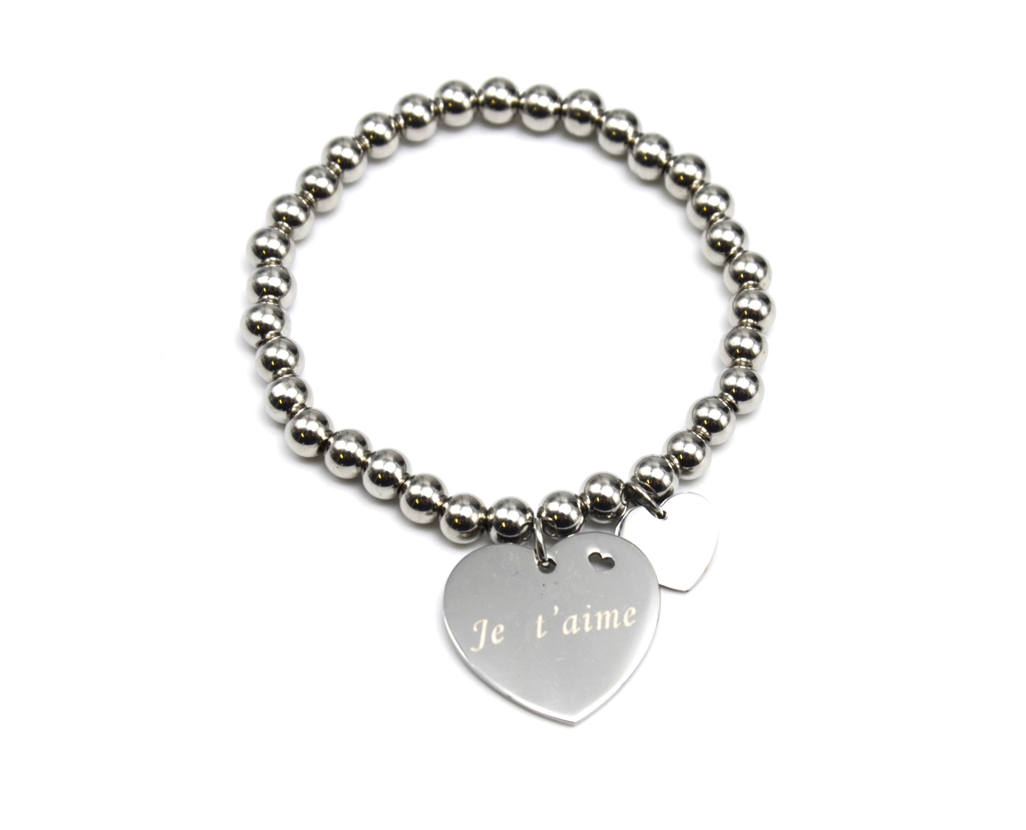 bc1686e bracelet elastique boules avec charm coeur message je t 39 aime acier ebay. Black Bedroom Furniture Sets. Home Design Ideas