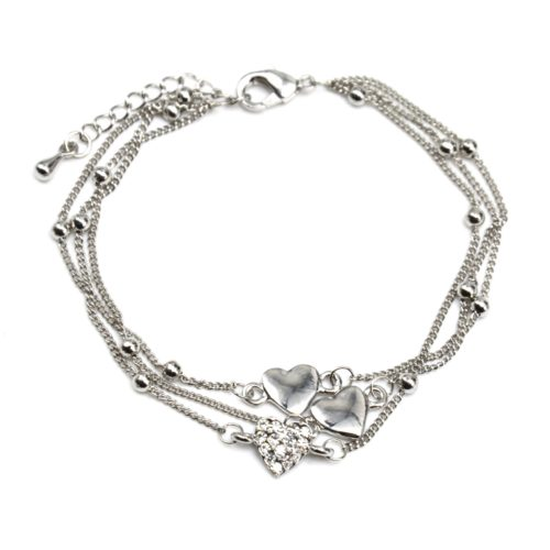 Bracelet-Triple-Chaine-avec-Boules-et-Charms-Coeur-Metal-et-Strass-Argente