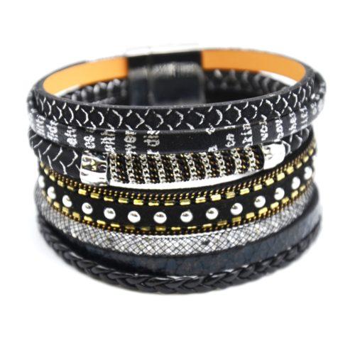 Bracelet-Manchette-Multi-Rangs-Ecailles-Tresse-Resille-Clous-et-Chaine-Noir