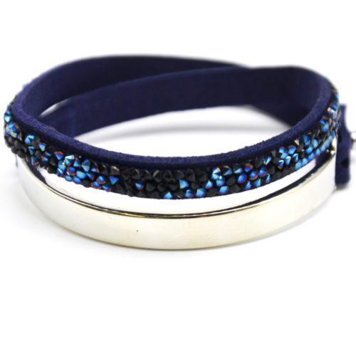 Bracelet-Double-Tour-Bande-Metal-Argente-et-Feutrine-Clous-Brillants-Bleu-Nuit