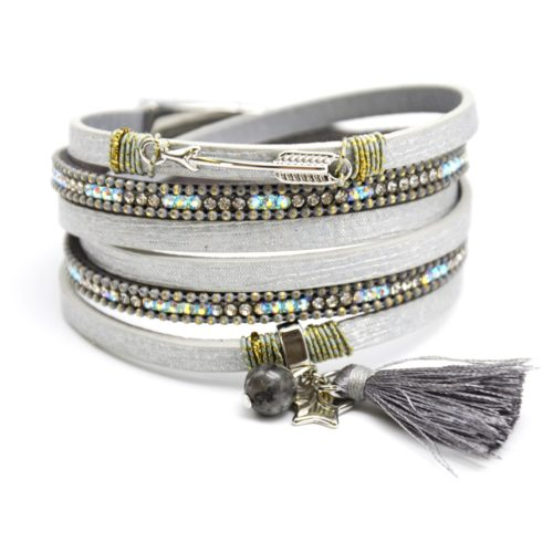 Bracelet-Double-Tour-Multi-Rangs-Brillants-Strass-avec-Charms-Fleche-Etoiles-et-Pompon-Gris