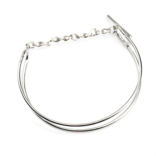 Bracelet-Jonc-avec-Double-Barre-Parallele-et-Chaine-Metal-Argente