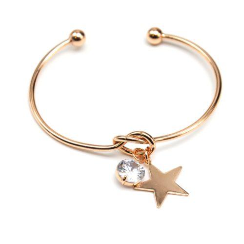 Bracelet-Jonc-Ouvert-avec-Noeud-Metal-Or-Rose-et-Charms-Etoile-Pierre