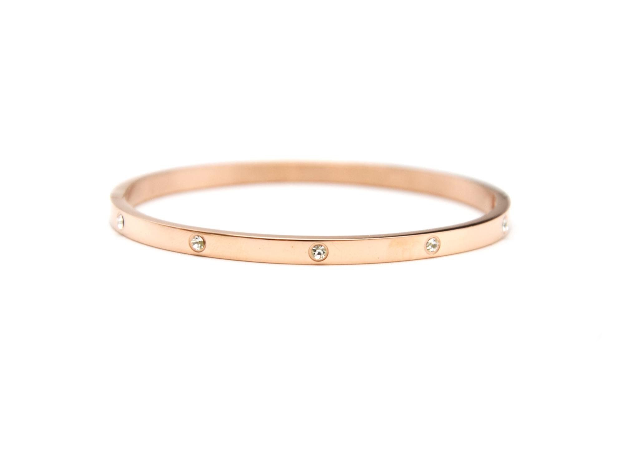 bc1799f bracelet jonc fin acier or rose orn de strass oh my shop. Black Bedroom Furniture Sets. Home Design Ideas