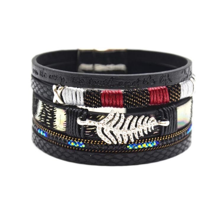 Bracelet-Manchette-Multi-Rangs-Simili-Cuir-Ecailles-Message-Strass-Noir-avec-Charm-Feuille-Ethnique