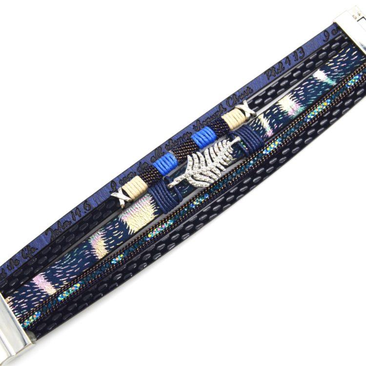 Bracelet-Manchette-Multi-Rangs-Simili-Cuir-Ecailles-Message-Strass-Bleu-Marine-avec-Charm-Feuille-Ethnique