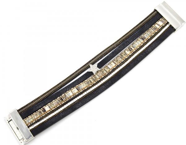 Bracelet-Manchette-Multi-Rangs-Satine-Chaines-Pierres-Bande-Motif-Peruvien-Noir-avec-Charm-Etoile-Strass