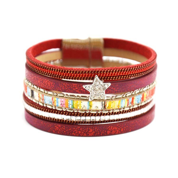 Bracelet-Manchette-Multi-Rangs-Satine-Chaines-Pierres-Bande-Motif-Peruvien-Rouge-avec-Charm-Etoile-Strass