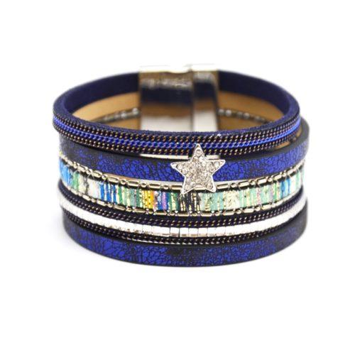Bracelet-Manchette-Multi-Rangs-Satine-Chaines-Pierres-Bande-Motif-Peruvien-Bleu-Marine-avec-Charm-Etoile-Strass