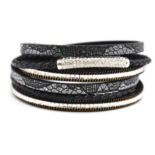 Bracelet-Double-Tour-Multi-Rangs-Python-Satine-Pierres-Tresse-Noir-avec-Bande-Strass