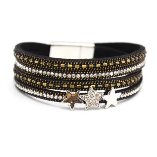 Bracelet-Double-Tour-Multi-Rangs-Feutrine-Chaines-Strass-Noir-avec-Charms-Etoiles-Metal