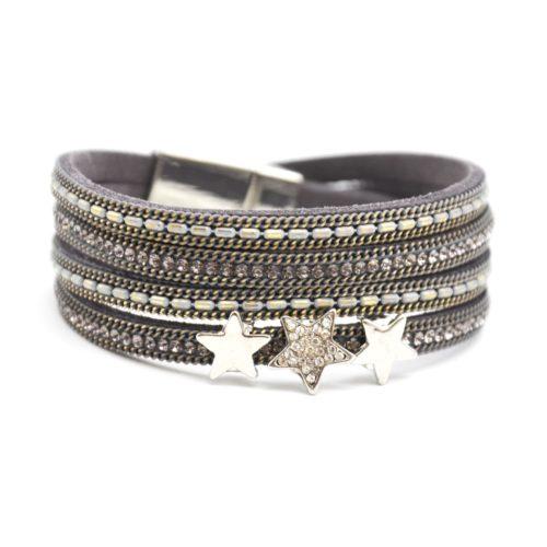 Bracelet-Double-Tour-Multi-Rangs-Feutrine-Chaines-Strass-Gris-avec-Charms-Etoiles-Metal