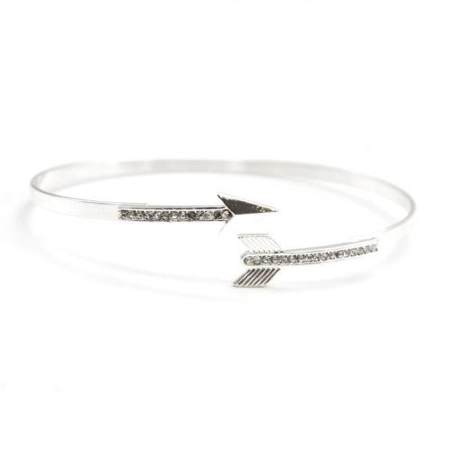 Bracelet-Jonc-Ouvert-avec-Flche-Ethnique-Metal-Strass-Argente