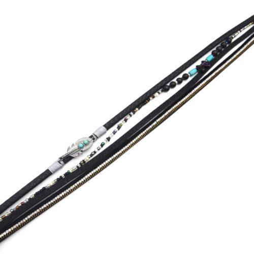 Bracelet-Double-Tour-Multi-Rangs-Ecailles-Strass-Paillettes-Noir-avec-Plume-Ethnique-et-Pierres-Turquoise