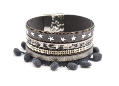 Bracelet-Manchette-Multi-Rangs-Python-Feutrine-Etoiles-Strass-avec-Pompons-Boule-Gris