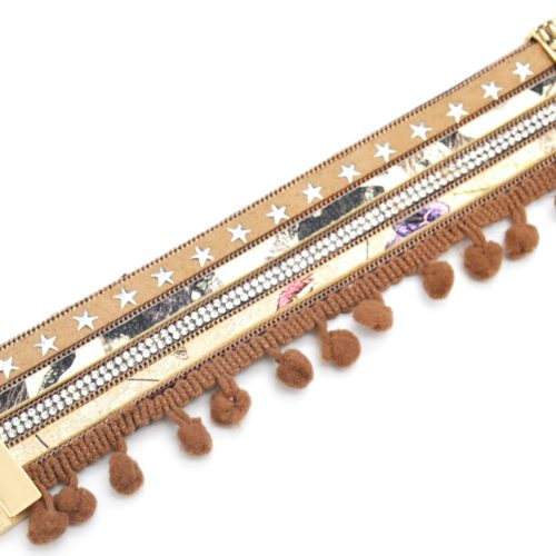 Bracelet-Manchette-Multi-Rangs-Python-Feutrine-Etoiles-Strass-avec-Pompons-Boule-Taupe