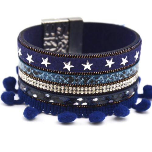 Bracelet-Manchette-Multi-Rangs-Python-Feutrine-Etoiles-Strass-avec-Pompons-Boule-Bleu-Marine