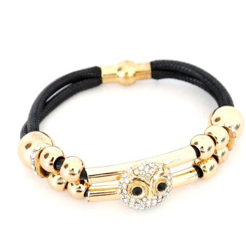 Bracelet-Aimante-Double-Cordon-Noir-avec-Perles-et-Charm-Chouette-Hibou-Strass-Dore