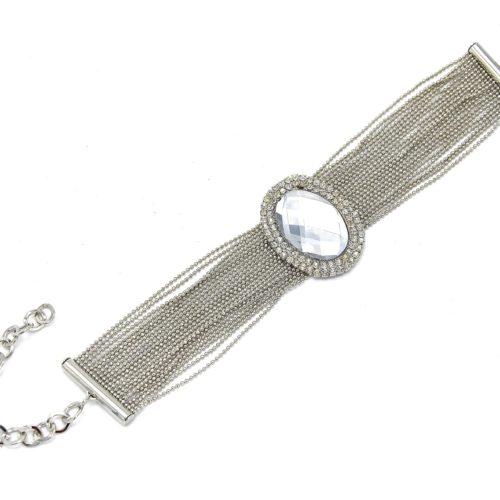 Bracelet-Multi-Chaines-Metal-et-Ovale-Contour-Strass-Argente