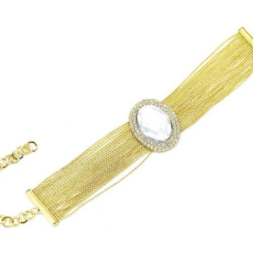 Bracelet-Multi-Chaines-Metal-et-Ovale-Contour-Strass-Dore