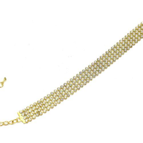 Bracelet-Souple-4-Rangs-Strass-Ronds-Dore