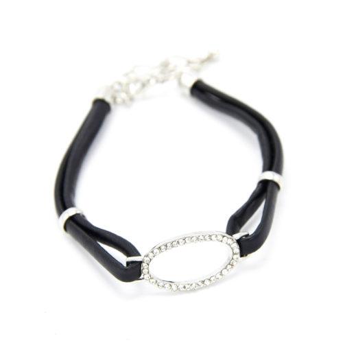 Bracelet-Simili-Cuir-Souple-Noir-et-Ovale-Strass-Argente