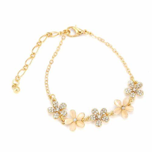 Bracelet-Chaine-Metal-avec-5-Fleurs-Resine-et-Strass-Dore