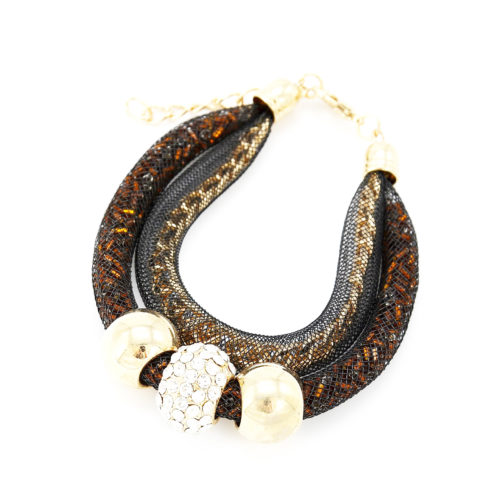 Bracelet-Double-Tube-Resille-avec-Chaine-et-Perles-MarronDore