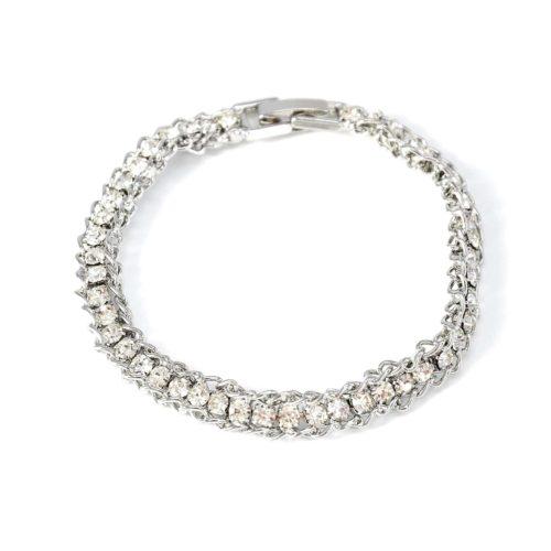 Bracelet-Chaines-Metal-Milieu-Bande-Strass-Chic-Argente