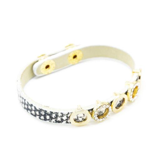 Bracelet-Clip-Effet-Python-BlancGris-avec-Cercles-Metal-Strass-Dore