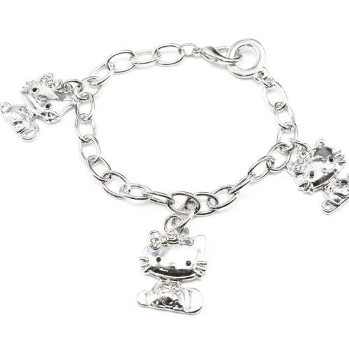 Bracelet-Chaine-Metal-et-Charms-3-Chats-Argente